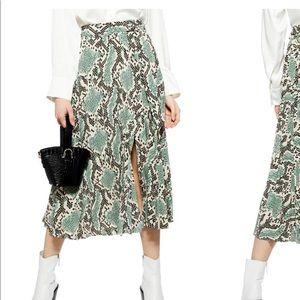 NWT Topshop Python Pleat Midi Skirt